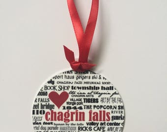 """CHAGRIN FALLS ohio - 3.5"""" round aluminum,two sided, glossy finish, can be personalized"""
