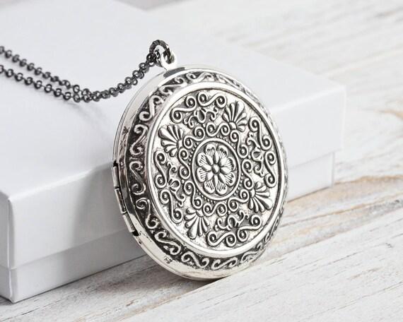 Gunmetal victorian locket necklace ornate locket with figaro chain gunmetal victorian locket necklace ornate locket with figaro chain antiqued silver locket pendant aloadofball Gallery