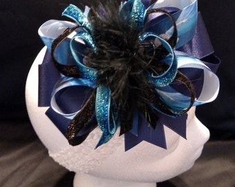 Blue Disney Frozen Queen Elsa Over-The-Top Hair Bow Hairbow
