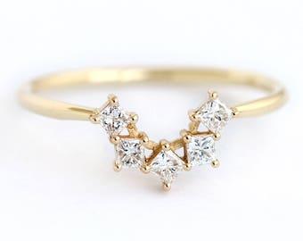 Princess Diamond Ring, Nesting Wedding Band, Cluster Wedding Ring, Princess Cut Ring, Five Diamonds Ring, Diamond Crown Ring, Square Ring