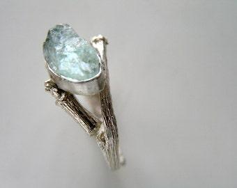 Aquamarine Sterling Silver Ring. Raw Aquamarine Twig Ring. Rough Aquamarine. MADE TO ORDER.
