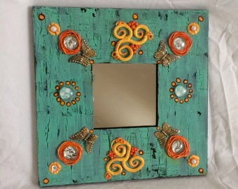 Butterfly Mixed Media Mirror