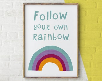 Follow Your Rainbow Print, Rainbow Wall Art, Rainbow Illustration, Rainbow Nursery Print, Nursery Decor Colourful, Wall Art Rainbow, Weather