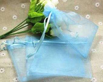 Baby Blue Organza Pouch Bags Wedding Party Favor Bag, Baby Shower Christmas Drawstring Gift Bag, Sheer Fabric Fragrance Sachet 4x6in