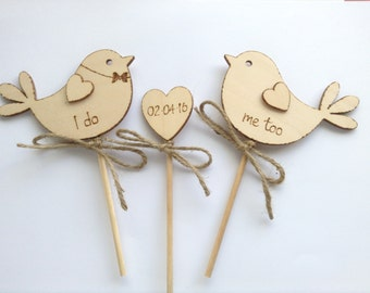 I Do Me Too Cake Topper  Wedding Cake Topper Bird Cake Topper Handmade  Wooden Cake Topper