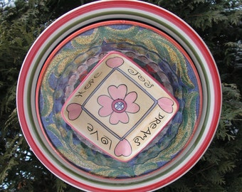 Starbucks Super Colorful Plate Flower, Yard Art, Close Out Sale