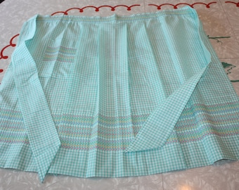 Lovely Green Gingham Handmade Half Apron, Vintage Cross Stitch Embroidery