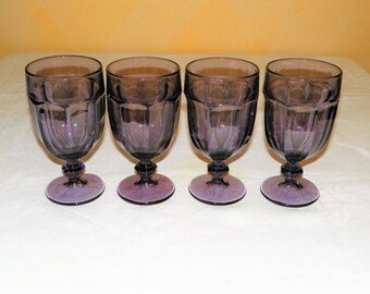 Amethyst Duratuff Gibraltar pattern Water Glasses, a Set of 4 Heavy Duty Glass Made by Libbey, MINT Condition, 16 oz. Purple Wine or Ice Tea