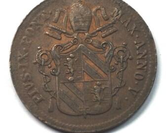 1850 1B Italian States Papal States Baiocco KM 1345 Rare