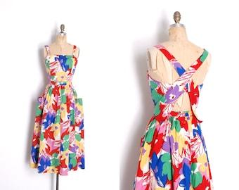 Vintage 1980s Dress / 80s Victor Costa Backless Cotton Sundress Dress / Floral ( medium M )