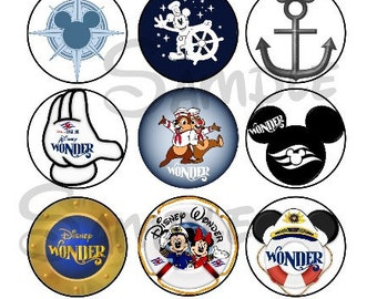 "Various Wonder DCL inspired DIGITAL Bottle Cap image sheet 4x6 1"" inch  DIY Disney Cruise"