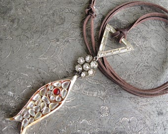 Assemblage Fish Pendant Vintage Components Lots of Rhinestones on Leather Cord