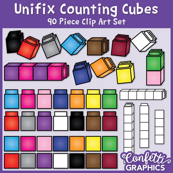 Unifix Würfel ClipArt / Verknüpfung Cubes / zählen Cubes /