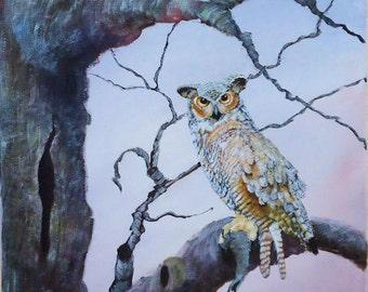 Bird Painting, Bird Art, Wildlife Painting, Original Acrylic Painting of Great Horned Owl in a Tree