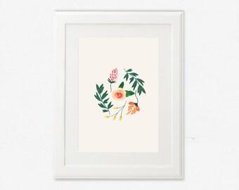 Art Print, floral illustration, poster, floral, botanical Collection