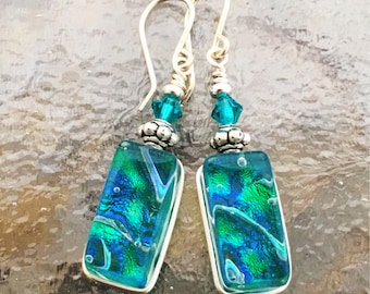 Translucent Green Dichroic Glass Earrings Wire-Wrapped with Sterling Hooks and Swarovski Beads