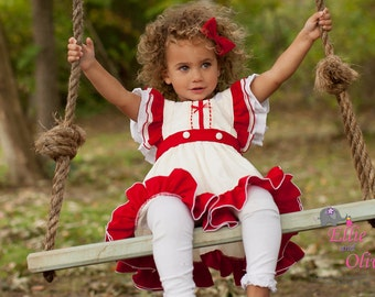 Girls Christmas Dress Red, Ivory 1st Christmas Sweet Molly Christmas Dress & Bloomer Set Toddler Holiday Christmas Dress