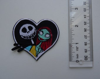 Disney Embroidered Iron On /Sew On Applique Patch - Nightmare Before Christmas Jack Skellington and Sally Heart