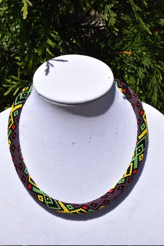 Lasso afrikanischen Stil Rocailles Perlen Halskette häkeln