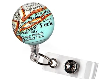Badge Id Holder, New York Personalized Retractable Badge Reel, Name Badge Clips, Custom Badge Reel, Id Tag, Nurse, Office, Teacher