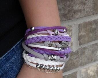 Purple Bracelet, Boho Bracelet, Stacked Bracelet, Bohemian Purple Bracelet, Bohemian Jewelry, Womens Bracelet, Womens gift, Gift for Her