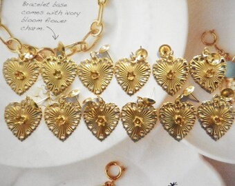 6 Prs. Goldplated Heart Earrings with 3mm Setting