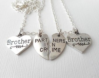 2 Partners in Crime, Brother- Best Friends Necklaces/ Bff jewery, bff, Gift ideas, Best Friend Gift, Friendship Necklace, Bff Gift