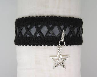 CUFF BRACELET with charm removable star, Christmas, for party gift idea...