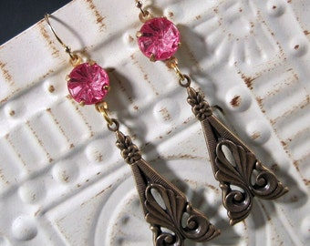 Hot Pink Victorian Earrings - Brass Dangle - Art Nouveau - Downton Abbey Inspired