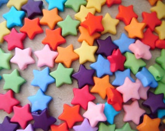 PROMOTION x 50 mixed beads star charm with five 9 mm acrylic rayon