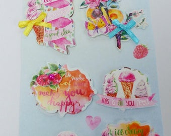 been 8 3D ice cream cone ice cream Butterfly stickers