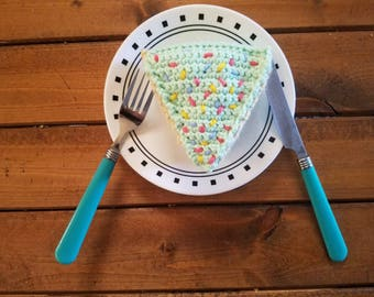 Mint Sprinkle Birthday Cake Slice | Crochet Amigurumi Cake
