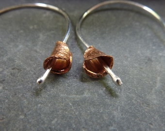 Calla Lily flower drop earrings: Handmade, sterling silver and copper