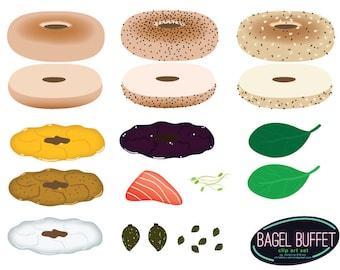 Bagel Buffet Clip Art Set - Build Your Own Bagel