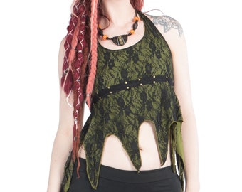 LACE TRANCE TOP, psy trance clothing, Goa clothing, pirate hippy crop top, woodland fairy top, festival top, backless summer halterneck top