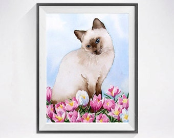 Siamese Cat, Kitty Art Prints, Cat Watercolor, Spring flowers, Art print Sale,Watercolor, Painting, Siamese Kitty, Child's wall art LaBerge