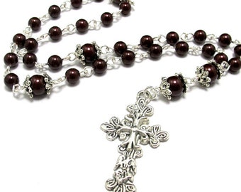 Anglican Prayer Beads in Burgundy Swarovski Pearls & Beautiful Silver Cross, Anglican Rosary, Pearl Prayer Beads, Silver Prayer Beads