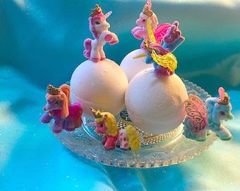 1 Bath Bombs unicorn surprise toy inside! Great birthday princess disney surprise party organic bath time fizzy fun gift