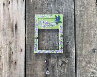 """Hummingbird Swing Handmade """"Sit-A-Bit"""" Hand Painted Wood Bird Perch for Small Garden Birds, Item #570885182"""