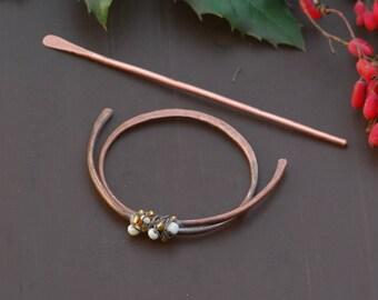 Large hair clip Hair barrette Shawl pin Hair clip Metal hair slide Womens gift Boho copper hair barrette Scarf pin Gift For her Hair fork