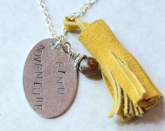 Hand Stamped Necklace with Leather Tassel Find Adventure