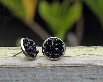Black Faux Druzy Studs with Stainless Steel Posts, Chunky Black Glitter Earrings, Minimalist