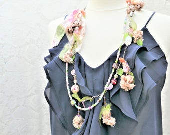 romantic spring fresh floral green and pink necklace