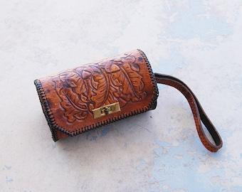 vintage 40s Tooled Leather Purse - 1940s Oak Leaves Acorns Tooled Leather Western Purse Clutch Wristlet