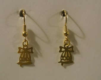 Light Small Gold Christmas Bell Earring with Gold Fishhook