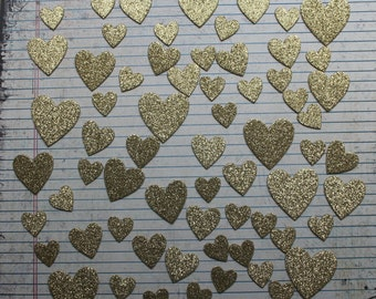 65 Gold Glitter Heart Chipboard Party Confetti, Cake Table Decor, Wedding Supply, Bridal Shower Scatter, Birthdays++