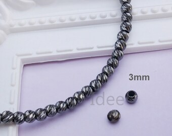 3mm silver Italy diamond cut beads, Solid 925 Sterling Silver with Black oxidized for Anti Tarnish. F34