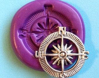 Compass North South 26mm - Flexible Silicone Mold - Chocolate, Cabochons, Sweets,  Resin, Clay Scrapbooking