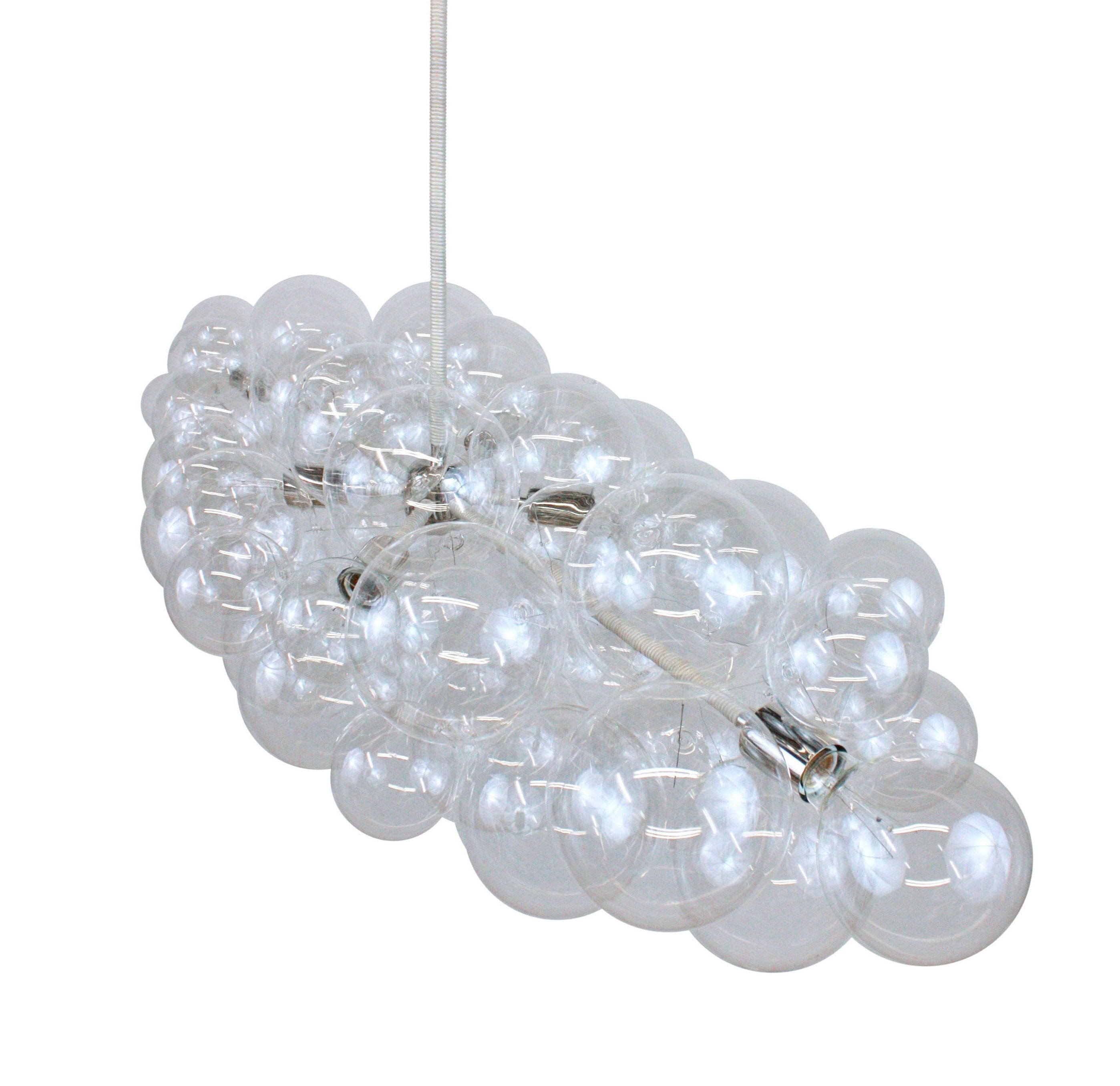 The Polished Nickel Branch Bubble Chandelier 48 long