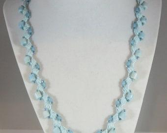 Aqua gemstone and glass bead necklace